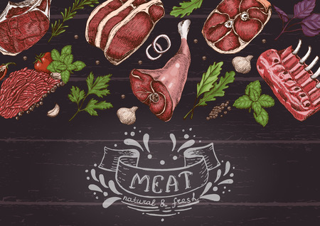 Horizontal background with different color meats in sketch style. Vector illustration for your design Foto de archivo - 111180765