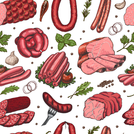 Vector seamless pattern with different color meat products in sketch style. Sausages, ham, bacon, lard, salami. Vector illustration for your design