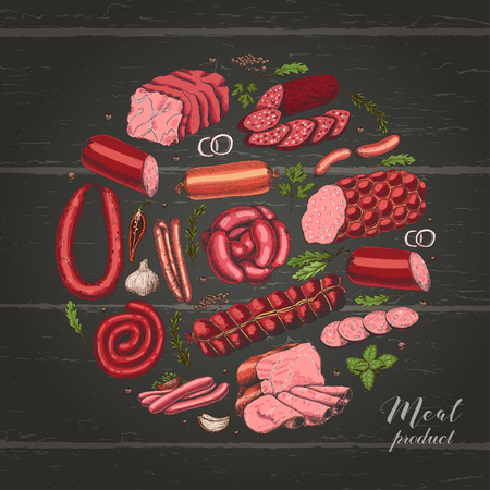 Isolated circle with different color meat products in sketch style. Vector illustration for your design Ilustração