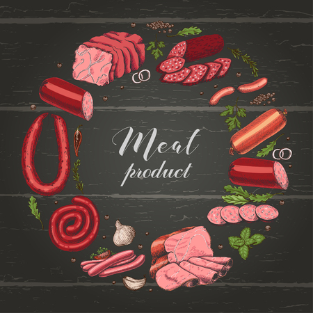Isolated ring with different color meat products in sketch style. Vector illustration for your design