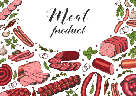 Horizontal background with different color meat products in sketch style. Sausages, ham, bacon, lard, salami. Vector illustration for your design Ilustração
