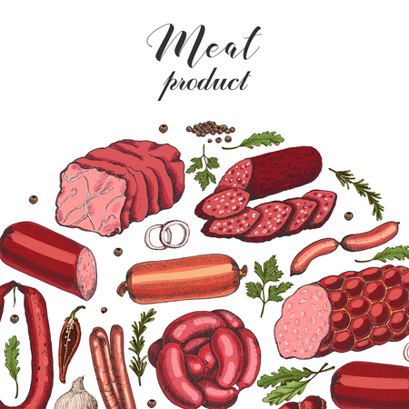 Vector background with different color meat products in sketch style. Sausages, ham, bacon, lard, salami. Vector illustration for your design Ilustração