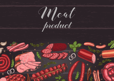 Horizontal background with different color meat products in sketch style. Sausages, ham, bacon, lard, salami. Vector illustration for your design Ilustracja
