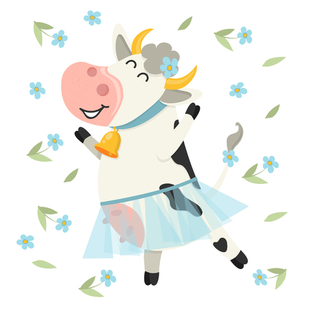 Cute cow dancing in blue skirt. Set of cute Cows character in various poses. Vector illustration for your design