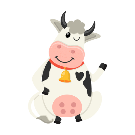 Cute cow sits and waves her hand. Set of cute Cows character in various poses. Vector illustration for your design
