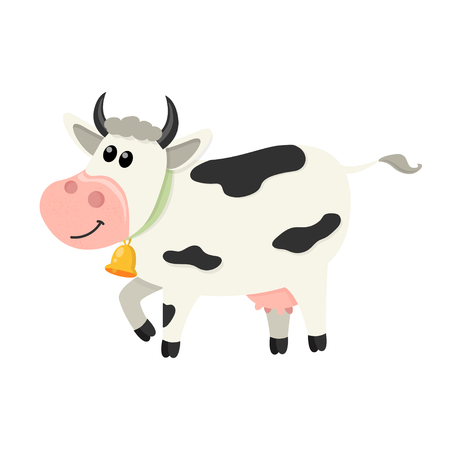 Cute cow walks. Set of cute Cows character in various poses. Vector illustration for your design