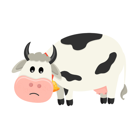 Cute cow is sad. Set of cute Cows character in various poses. Vector illustration for your design Ilustração