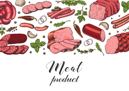 Horizontal background with different color meat products in sketch style. Sausages, ham, bacon, lard, salami. Vector illustration for your design Illusztráció