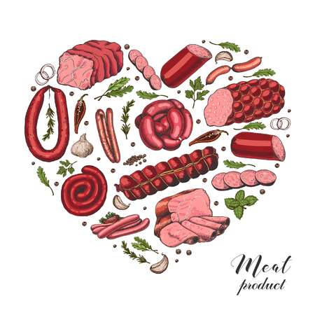 Isolated heart with different color meat products in sketch style. Vector illustration for your design