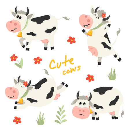Set of cute Cows character in various positions. Vector illustration for your design Illustration