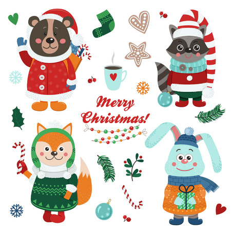 Christmas set with isolated cute forest animals dressed in winter clothes