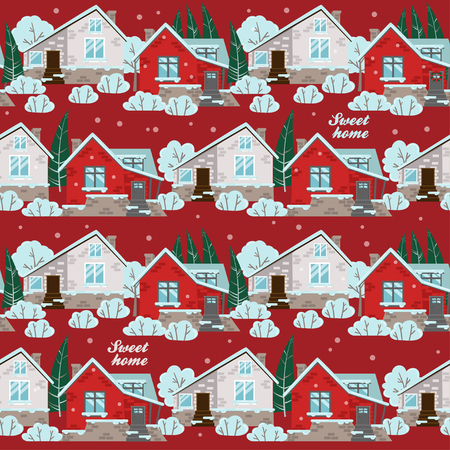 Seamless pattern with winter houses