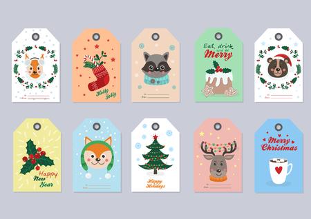 Étiquettes de Noël avec des animaux et des objets de la forêt. Vector illustration pour votre conception