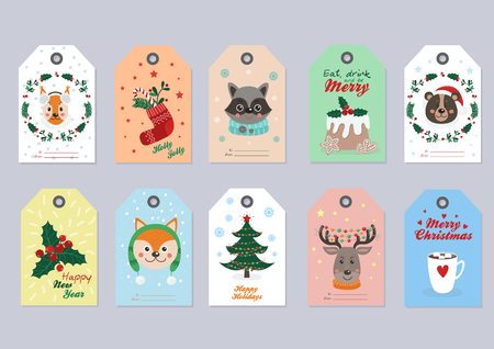 Christmas tags set with forest animals and items. Vector illustration for your design