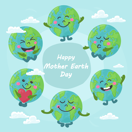 Set of cute cartoon Earth globe with emotions. Vector illustration for your design