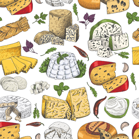 Seamless pattern with colored cheeses. Vector illustration for your design