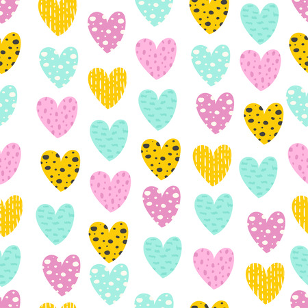 Seamless pattern with colorful hearts. Vector illustration for your design Ilustracja