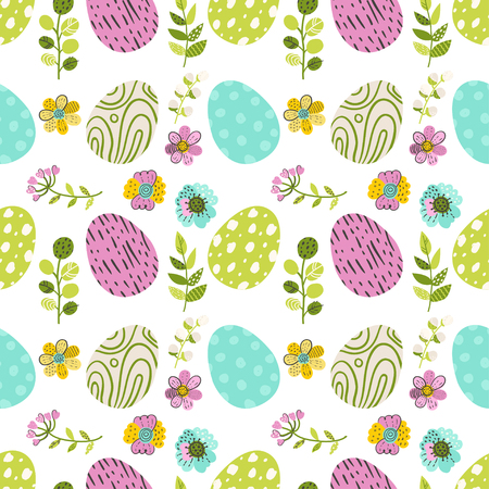 Seamless pattern with eggs and green herbs. Vector illustration for your design