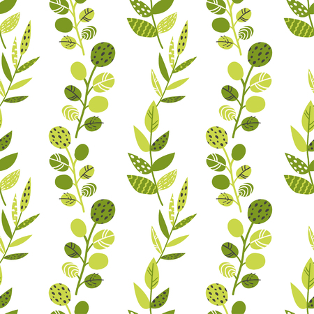 Seamless pattern with green leaves and herbs. Vector illustration for your design