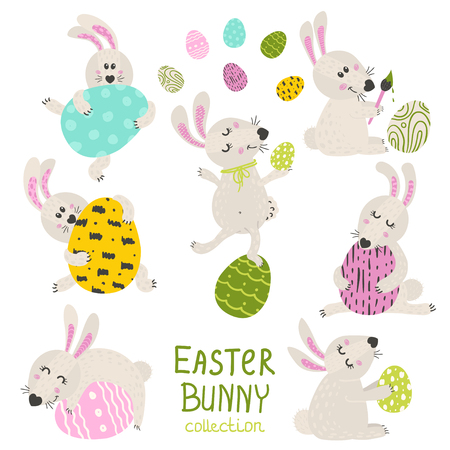 Set of Easter Bunny. Vector illustration for your design