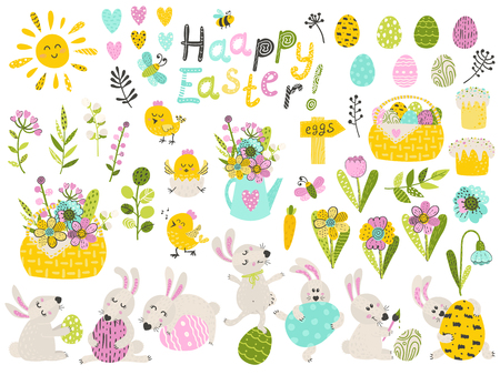 Big set of cute cartoon characters and design elements for the Easter holiday. Vector illustration for your design Ilustracja