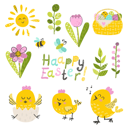 Set of easter chicken and flowers. Vector illustration for your design Ilustracja