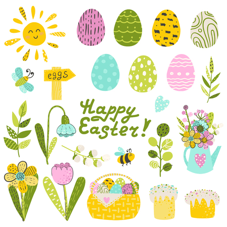 Set of Easter eggs and flowers. Vector illustration for your design