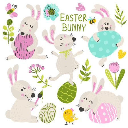 Set of Easter Bunny with herbs and flowers. Vector illustration for your design