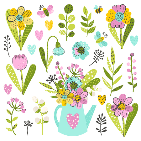 Set of colorful flowers and herbs. Vector illustration for your design Ilustracja