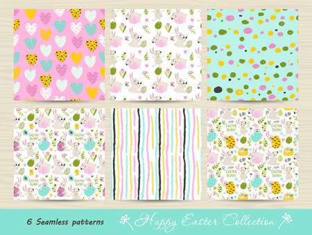 Set of seamless Easter patterns. Vector illustration for your design Ilustracja