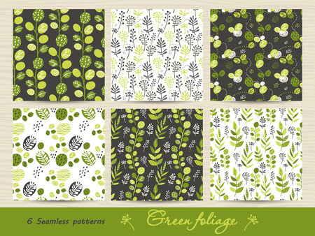 Set of seamless pattern with green leaves and herbs. Vector illustration for your design Ilustracja