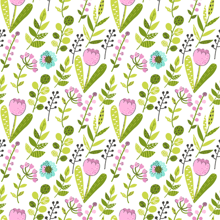 Seamless pattern with colorful flowers and leaves. Vector illustration for your design