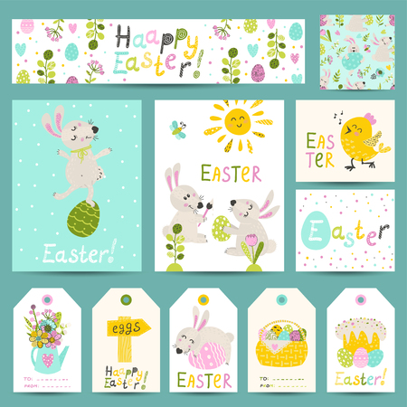 Set of Easter gift labels, cards with cartoon Easter bunnies, eggs, flowers. Vector illustration for your design Ilustracja