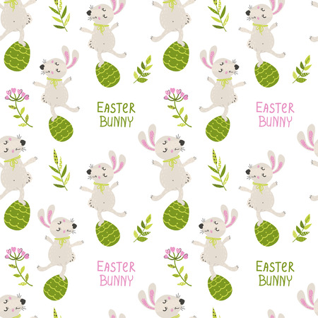 Seamless pattern with Easter bunny. Vector illustration for your design Ilustracja
