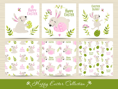Set of Easter seamless patterns and cards. Vector illustration for your design