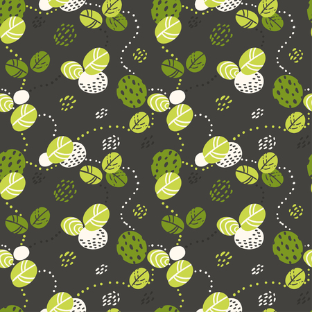 Seamless pattern with green abstract leaves. Vector illustration for your design