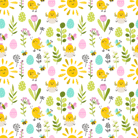 Seamless pattern with Easter chicken end eggs. Vector illustration for your design Illustration