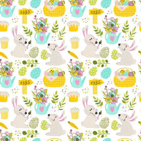 Seamless pattern with Easter bunny and pie. Vector illustration for your design