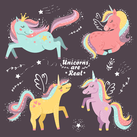 Set of fantasy unicorns. Vector illustration for your design