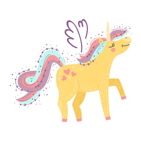 Simpatico unicorno magico. Disegno vettoriale su sfondo bianco. Illustrazione di disegno a mano romantico per bambini Vettoriali