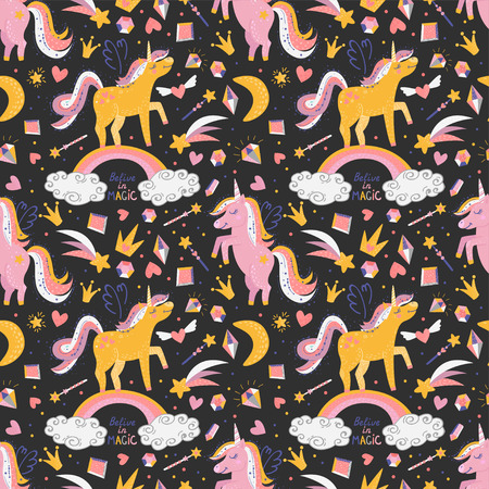 Seamless pattern with fairy unicorns. Vector illustration for your design Ilustracja