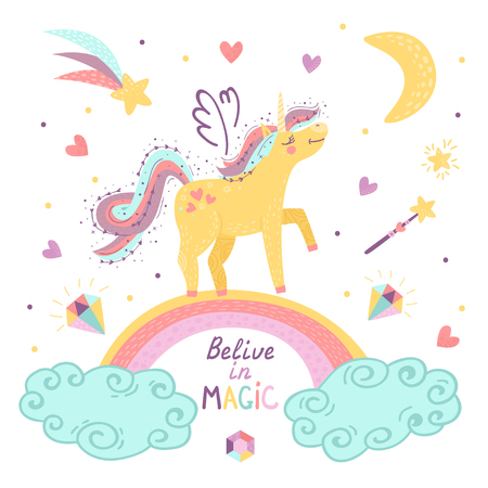 background of fantasy unicorn with rainbow. Vector illustration for your design