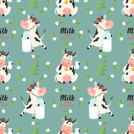 Seamless pattern with farm cows and milk bottle. Vector illustration for your design Ilustracja
