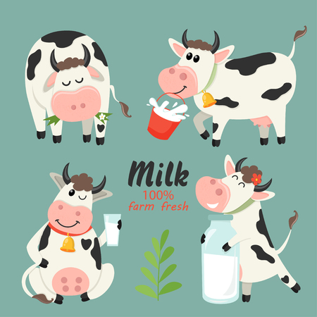 Set of farm cows with milk bottle. Vector illustration for your design