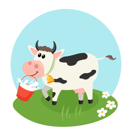 Farm cow with milk bucket. Vector illustration for your design