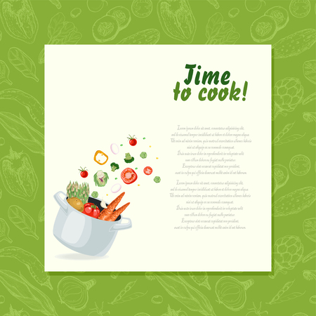 Background with Vegetables flying into the pot