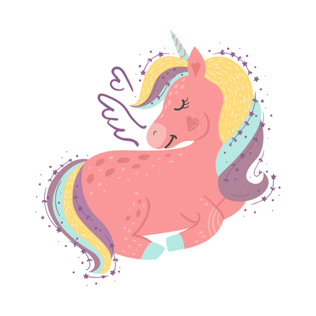 Cute little magical unicorn. Vector design on white background. Romantic hand drawing illustration for children Ilustracja