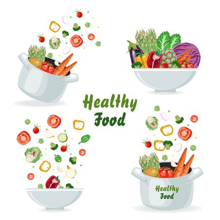 Satz von Konzepten mit Gemüse, das in eine Pfanne und einen Teller fliegt. Vektorillustration für Ihr Design Vektorgrafik