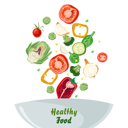 Bowl of vegetable salad with peper, tomato, onion and cucumber. Healthy food. Vector illustration for your design