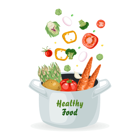 Vegetables flying into the pot. Vector illustration for your design